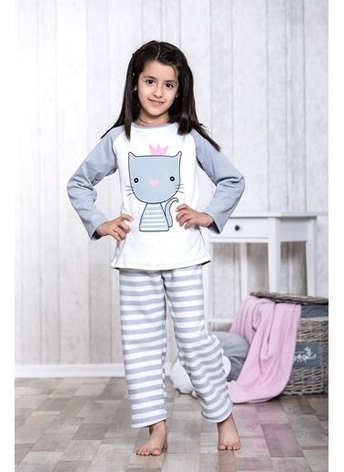 Lingabooms Taçlı Kedi Baskılı 2'li Çocuk Pijama Takım  Pembe